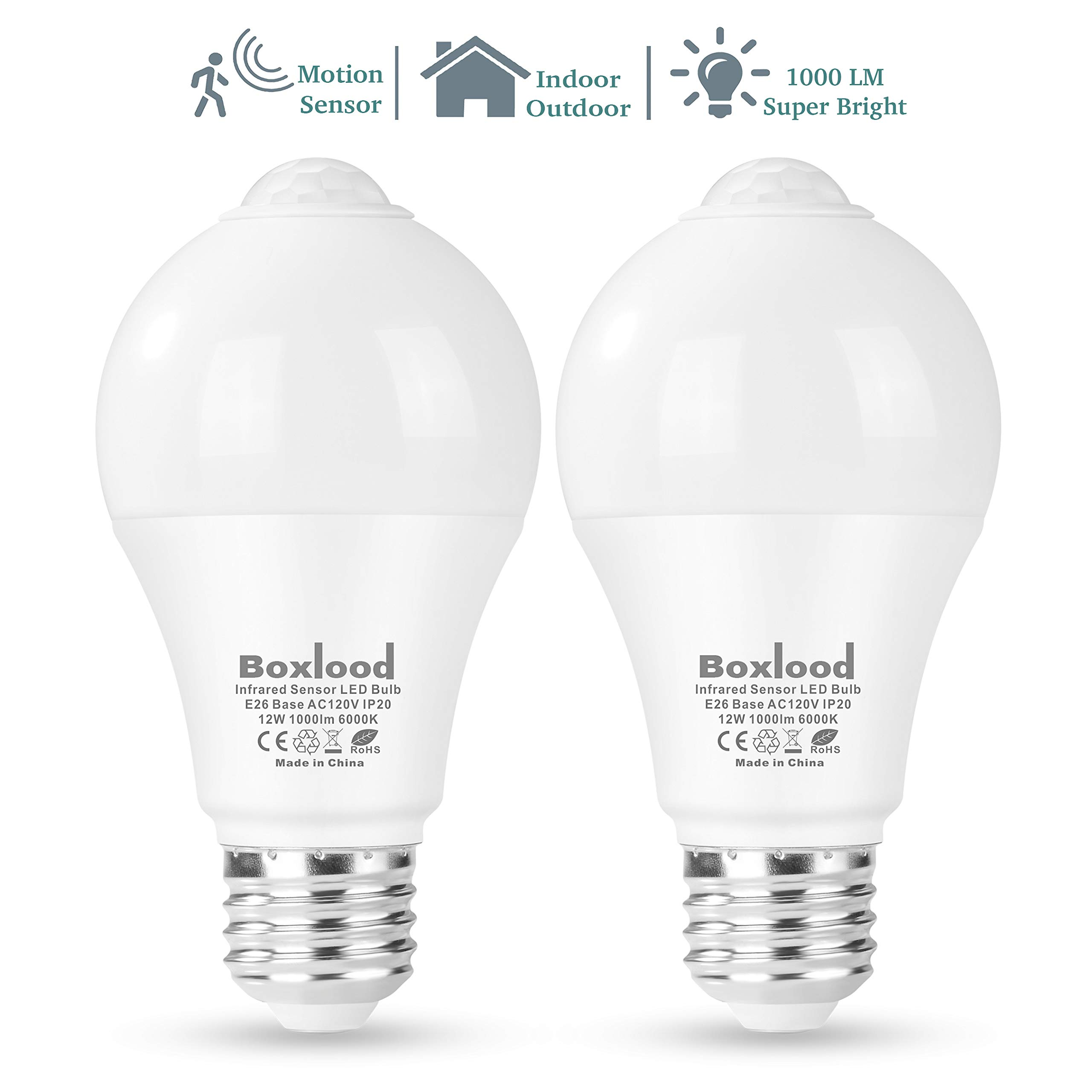 Boxlood Motion Sensor Light Bulb, Automatic Activated by Movement Security LED Bulb Lamp, 12W(100W Equivalent), A19/E26/120V/6000K Daylight for Front Door,Basement,Garage Stairs,Hallway- 2Pack