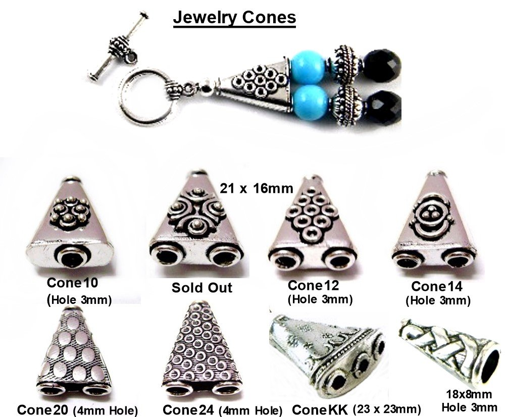 PlanetZia 8 Styles of Jewelry Cones for Designer Jewelry Making End Caps TVT-Cones Style-Cone14 6pcs