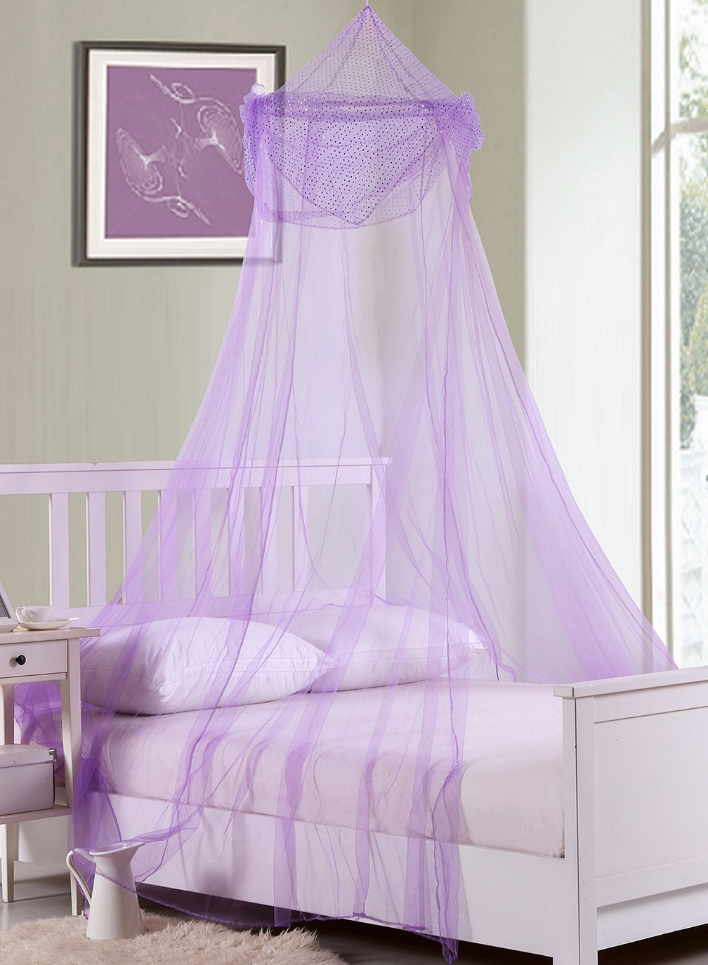 Fantasy Kids Raisinette Collapsible Hoop Sheer Bed Canopy, One Size, Purple