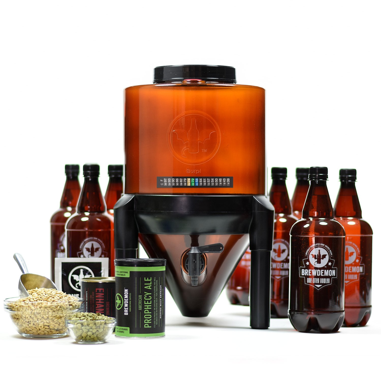 BrewDemon Craft Beer Kit Plus by Demon Brewing Company - NO SIPHON HOSE OR AIRLOCK REQUIRED Easy To Use Craft Beer Starter Kit With Reusable Conical Fermenter, Equipment and Ingredients - Make Wicked- by BrewDemon