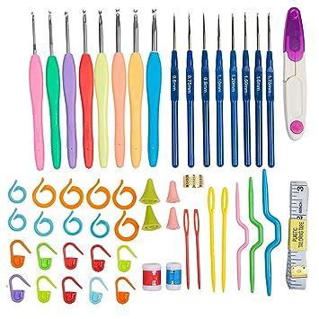 53PCS tejer agujas crochet ganchos herramientas Set kit con ...