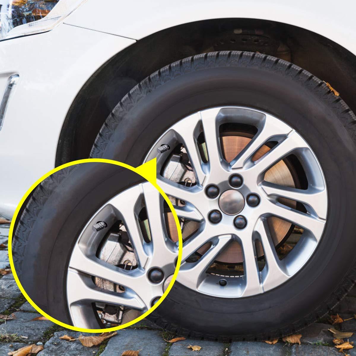 Silver Natuce 8 Pieces Tire Stem Valve Caps Aluminium Car Wheel Dustproof Caps for Car Motorcycle Bike