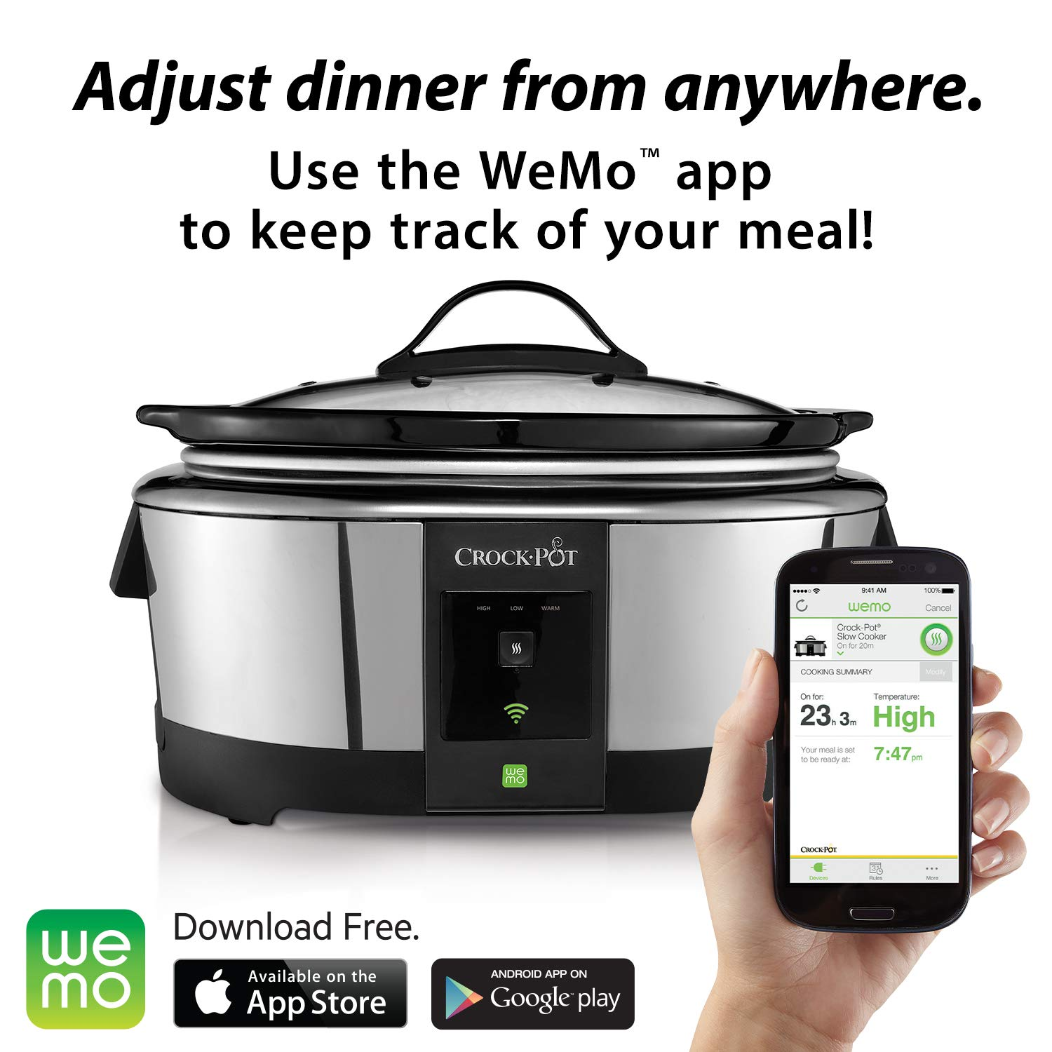 Crock Pot 6 Quart Wemo Enabled Smart Slow Cooker Belkin Adds Light Switch Looks To Tack On Android Compatibility Stainless Steel Kitchen Dining