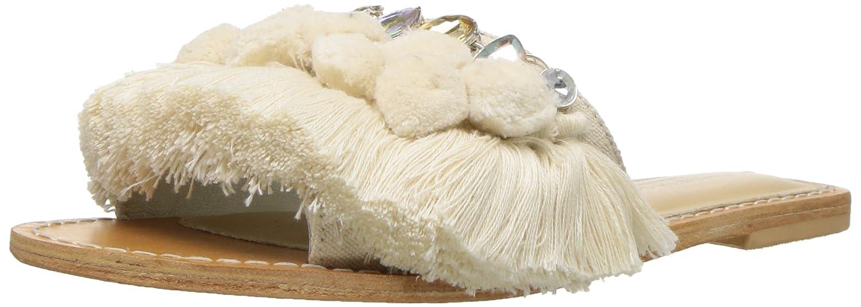 Kenneth Cole New York Women's Osmond Fringe Pom Detail Slide Sandal B077QN3SBN 8 B(M) US|Cream