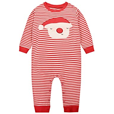 Bebé Peleles de Navidad Pijama A rayas Mameluco Papá Noel Monos Manga Larga Invierno Tuta, 18-24 Meses: Amazon.es: Ropa y accesorios