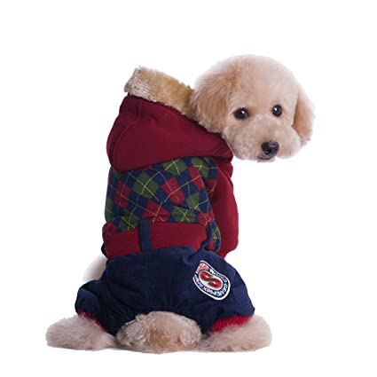 7efcc90e000f GabeFish Dog Warm Clothes Padded 4 Legs Hoody Coat For Puppy Cat Pet Winter  Checked Print