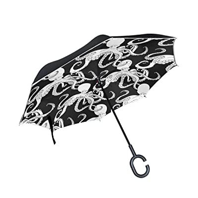 ALAZA Black Cartoon Octopus Kraken Inverted Umbrella, Large Double Layer Outdoor Rain Sun Car Reversible Umbrella