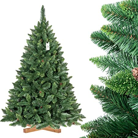 Arbre Noel Artificiel FairyTrees Sapin de Noël Artificiel, Pin Naturel Vert avec Pommes