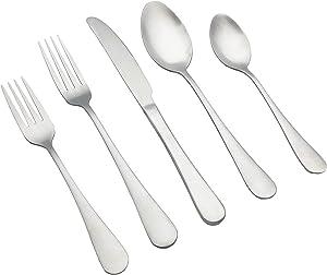 Kingware Home Silverware Flatware Cutlery Set,18/0 Stainless Steel Utensils 20-Piece Service for 4,Include Knife/Fork/Spoon,Matte Polished,Dishwasher Safe (Silver)