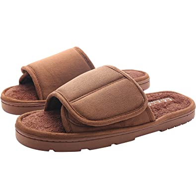 2a836c83e46e KOCOTA Men s Open-Toe Terry Adjustable Spa Slide Slippers with Memory Foam  for Indoor
