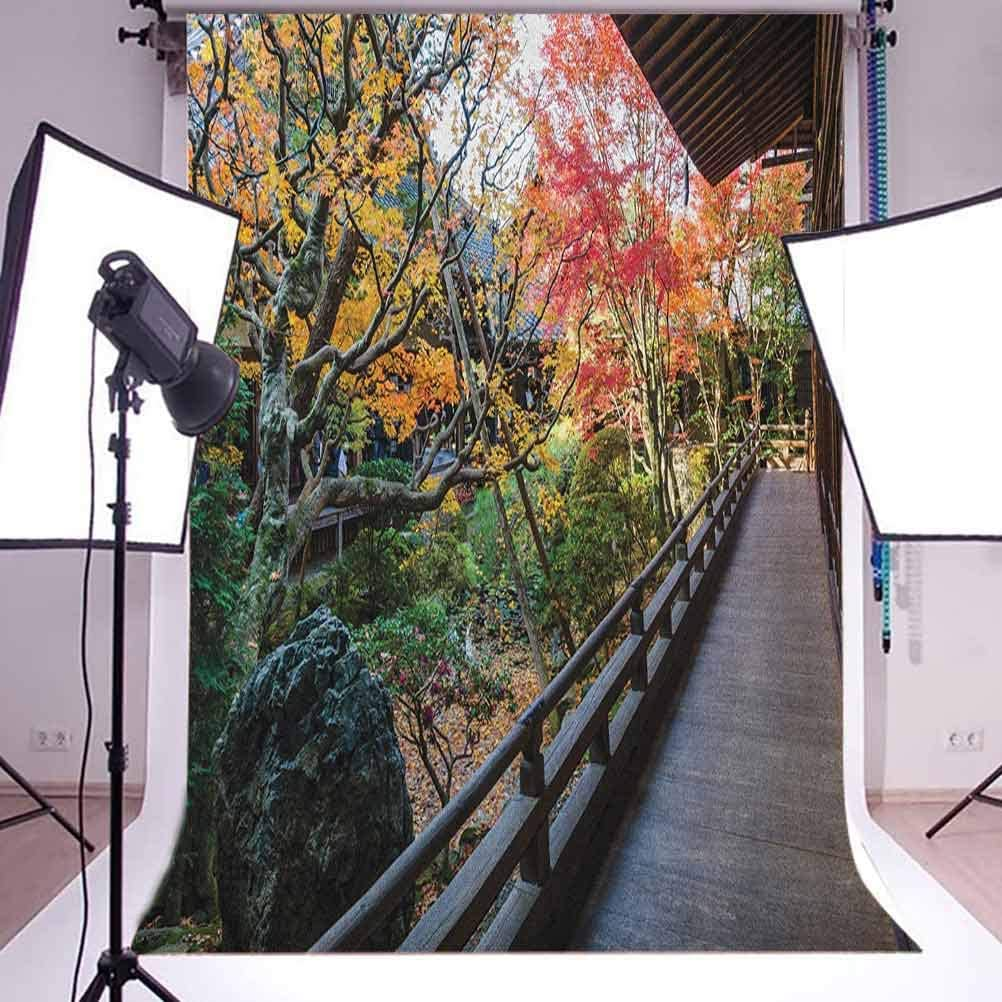 7x10 FT Vinyl Photography Background Backdrops,Forest Landscape from a Wooden Balcony in The Fall Paradise Maple Tree Print Background for Graduation Prom Dance Decor Photo Booth Studio Prop Banner
