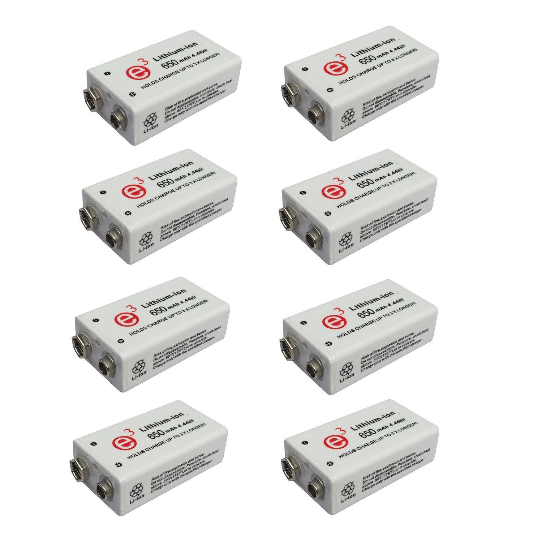 8 pcs 9V 650mAh Li-ion Battery Rechargeable 9V Li-ion Battery
