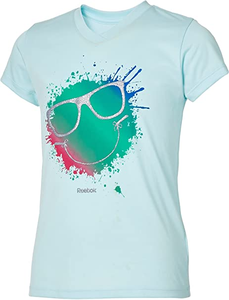 9ce35714d0 Amazon.com  Reebok Girls  V-Neck Smiley Sunglasses Graphic T-Shirt ...