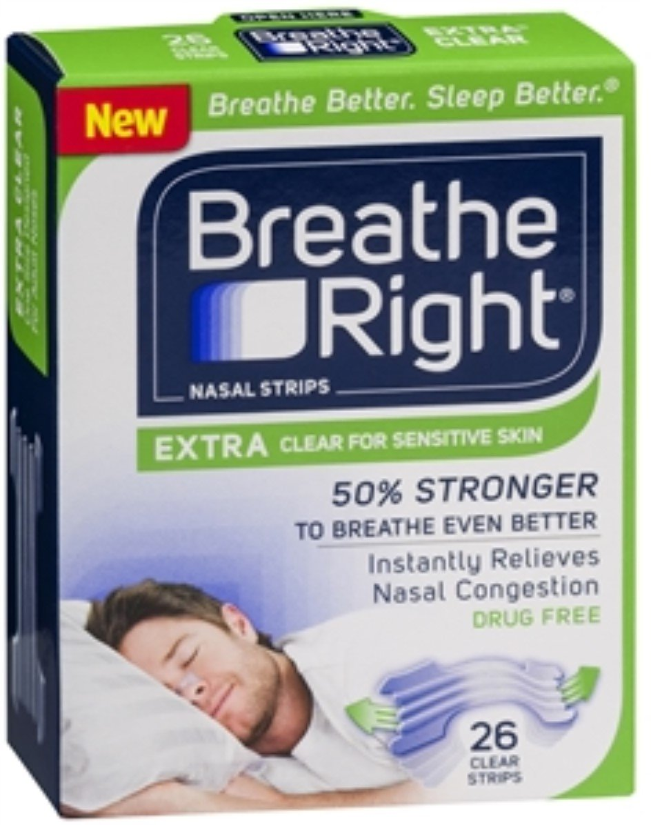Breathe Right Nasal Strips, Extra Clear for Sensitive Skin 26 ea (Pack of 10) by Breathe Right