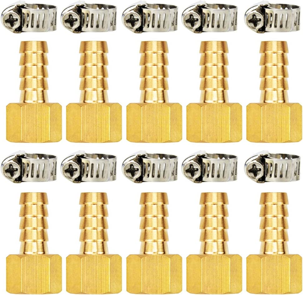 Gasher 10 PCS Air Hose Fittings 3//8 Barb x 1//4 FNPT with 10 Pcs Hose Clamp