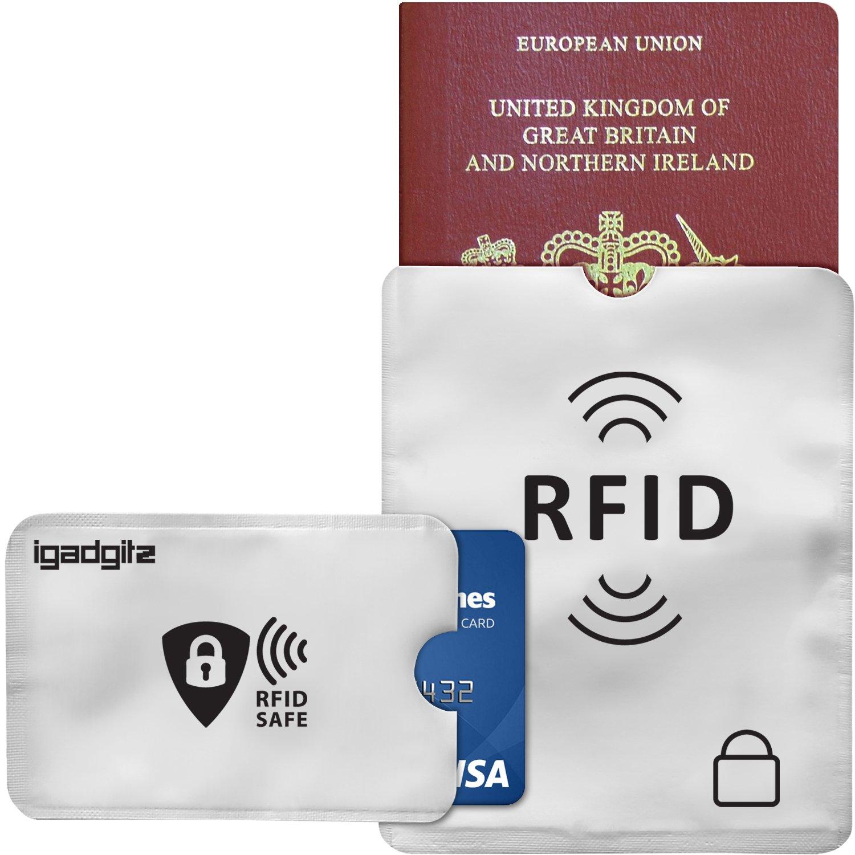 10 Tarjetas de Cr/édito /& 2 Passporte Fundas igadgitz U6804 Juego de 12 Funda Protectores Tarjetero RFID Bloqueo Protecci/ón Robo de Identidad