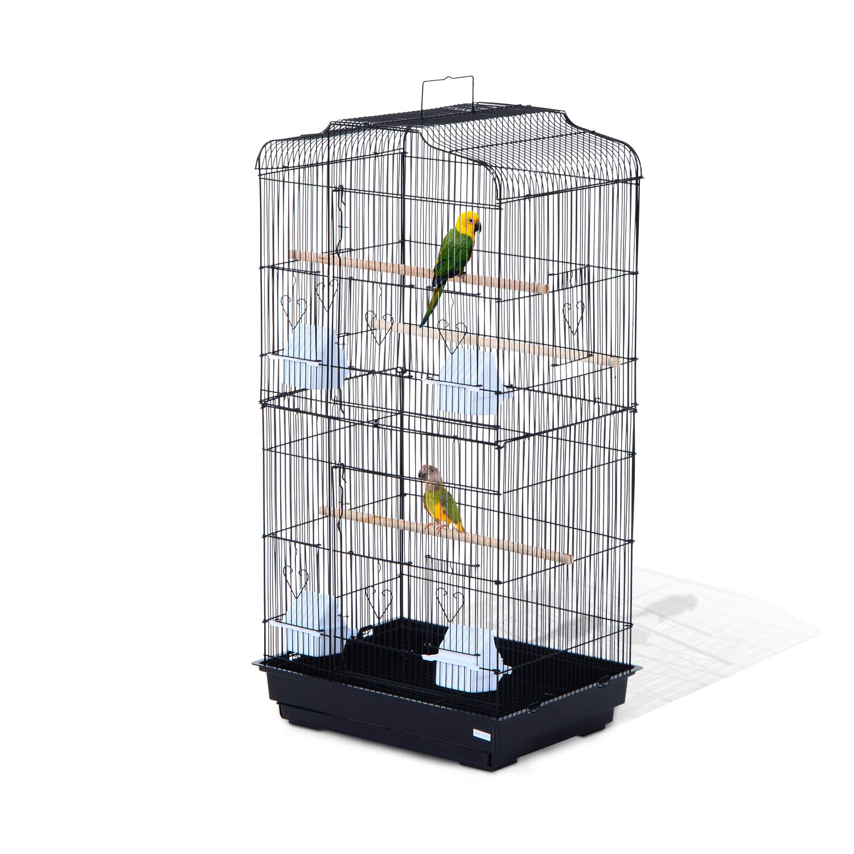 Yaheetech Jaula de Periquito Loro Jaula de p/ájaros para Aves con Ruedas 40,5 x 36,9 x 118 cm Jaula de Aves