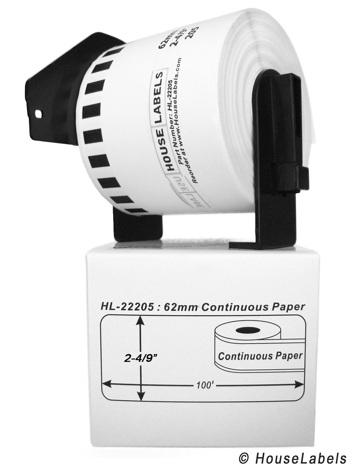 12 Rolls; Continuous Paper, BROTHER-Compatible DK-2205 Continuous Paper Labels with ONE (1) reusable cartridge (2-4/9'' x 100'; 62mm30.48m) -- BPA Free!