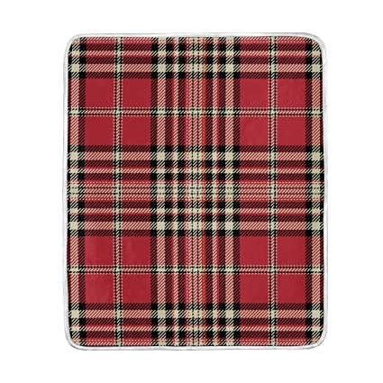 Amazoncom Retro Red Plaid Stripe Throw Blanket For Couch Bed