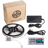 EVERDIGI LED Strip Lights Kit Waterproof SMD 5050 RGB 16.4ft 5M 300LEDs Dimmable Led Strips Color Changing Flexible LED Rope Lights with 44Key Remote, 12V 5A Power Supply, IR Control Box