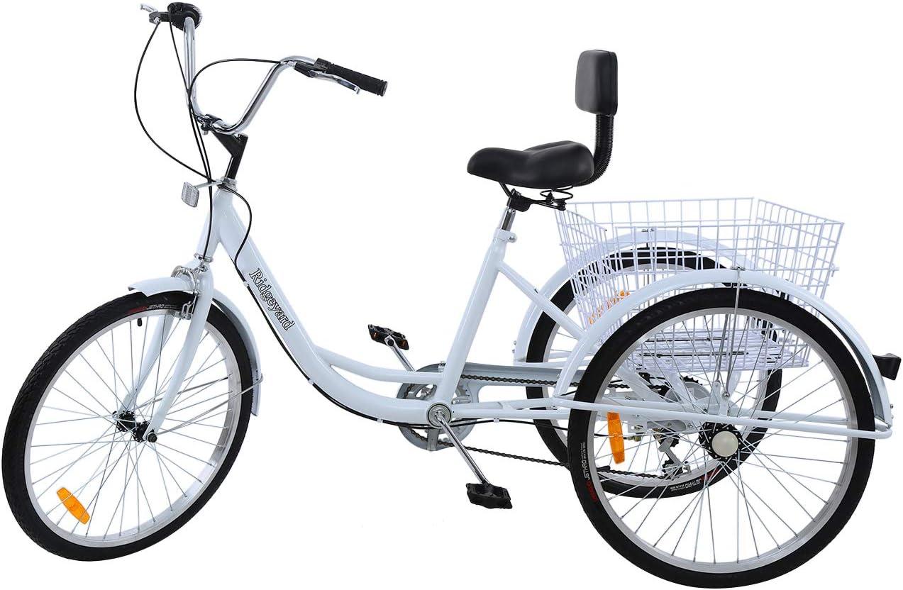 MuGuang Triciclo Adulto 24 Pulgada 7 Velocidades Bicicleta 3 Ruedas Adulto con Cesta de la Compra Tricycle(Blanco)