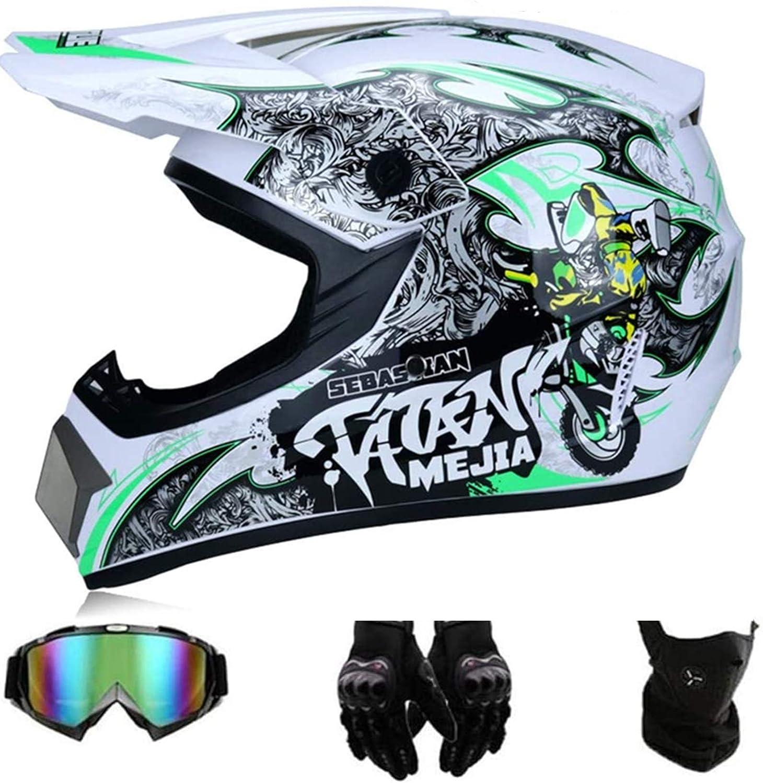 L GAODA Kinder Motocross Helm Enduro MTB Helm Fullface Fahrrad Helm Cross Helm Motorradhelm F/ür Downhill Bike ATV BMX mit Brille Handschuhen Maske f/ür Sicherheitsschutz.