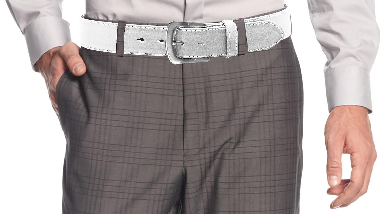 LUNA Mens Premium Quality Dress Stitch Buckle Belt - White - 3X Large