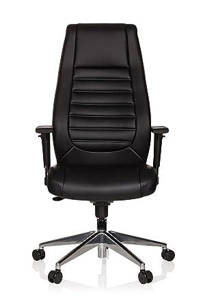 hjh OFFICE 600985 Silla de Oficina VITORO Piel sintética Negro Silla Escritorio ergonómico Elegante