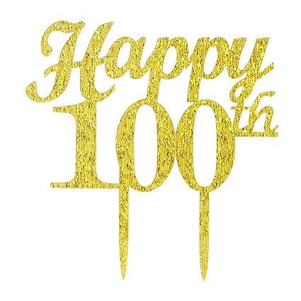 Gold Happy 100th Birthday Cake Topper