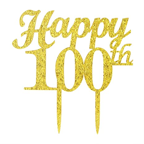 Gold Happy 100th Birthday Cake Topper