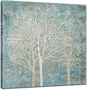 Innopics Abstract Tree Canvas Painting Vintage Still Life Giclee Print Square Retro Artwork Winter Landscape Wall Art Modern Home Decor Stretched and Framed for Living Room Bedroom Office Decoration