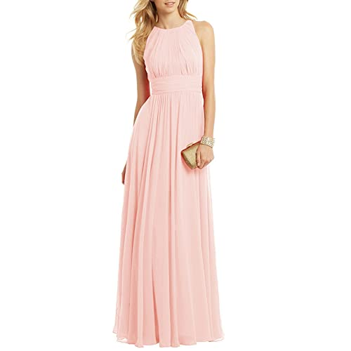 Ssyiz Custom Womens Round Neck Chiffon A-Line Bridesmaid Dresses Prom Gown