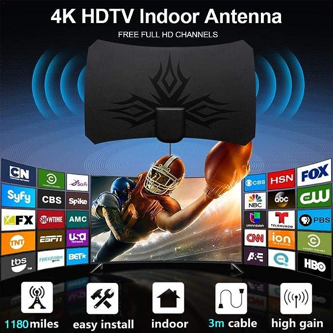 Ablerfly TV Aeria 1180 Millas 4K HDTV digital 2019 Nueva antena de TV para interiores con amplificador Amplificador de señal Radio de TV Surf Fox Antena Antenas de TV HD Antena (Negro)