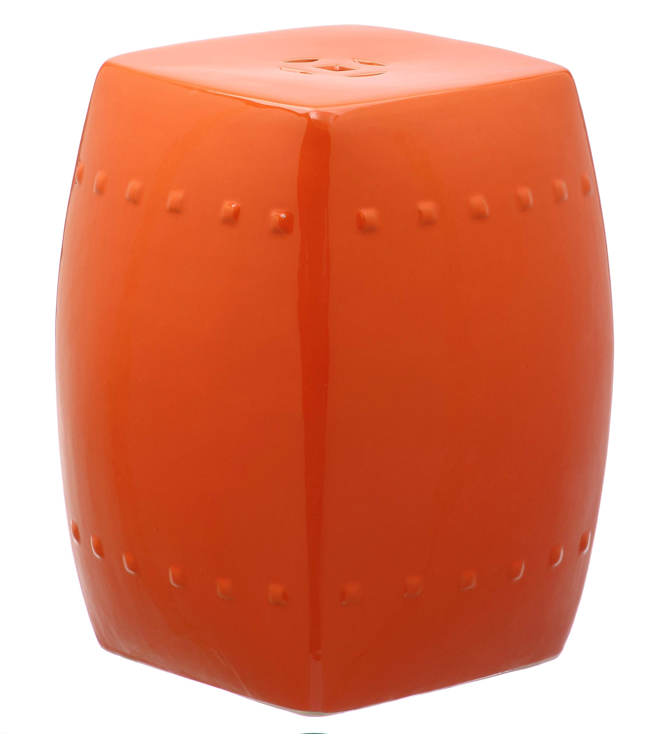 Safavieh Castle Gardens Collection Villa Orange Glazed Ceramic Garden Stool by Safavieh