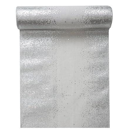 Runner da tavola in Cotone Bianco scintille Argento Taglia Unica Generique