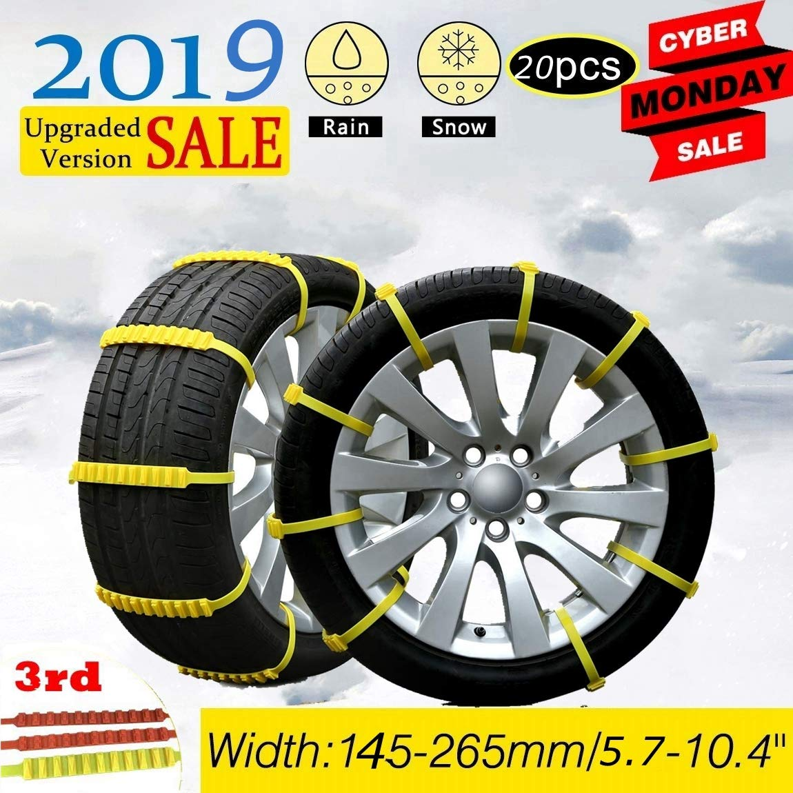 Diagtree 20 Pack Anti Slip Snow Chains for SUV Car Adjustable Universal Emergency Thickening Anti Skid Tire Chain,Winter Driving Security Chains,Traction Mud Snow Chains