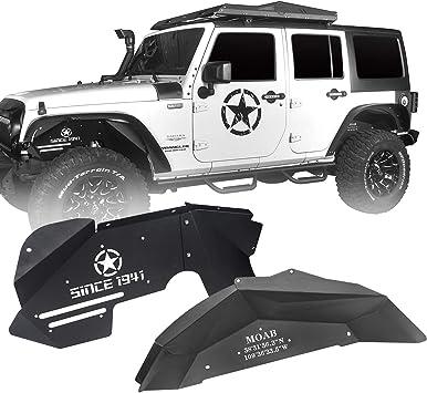 Hooke Road Black Steel Rear Inner Fender Liners for Jeep Wrangler 07-18 JK JKU