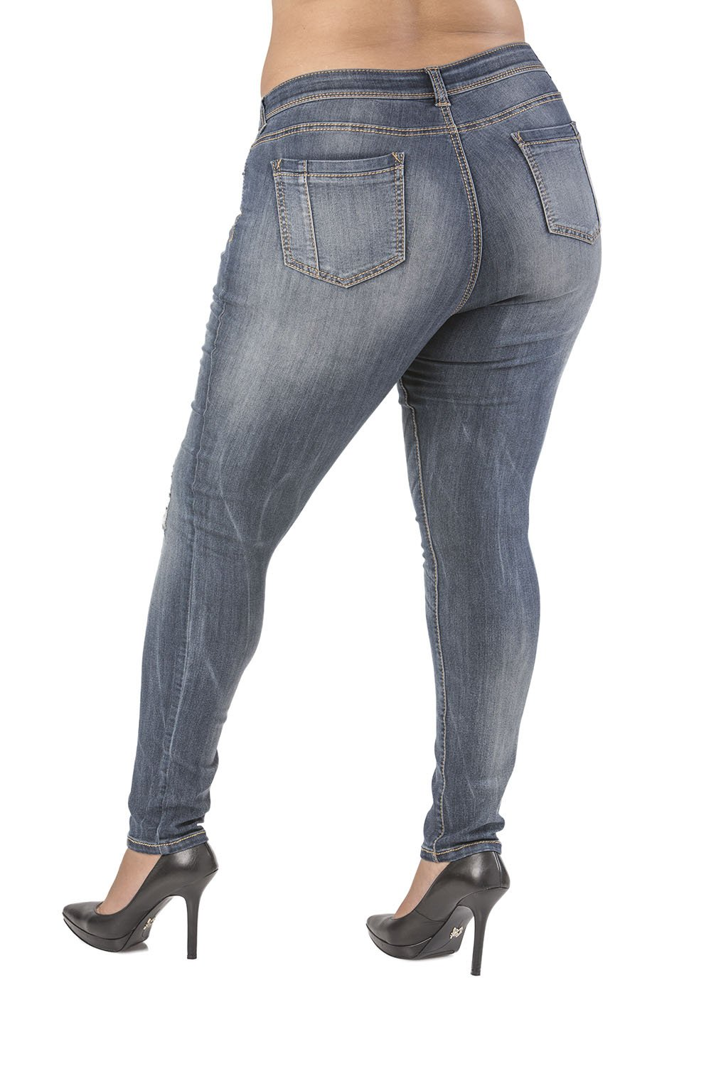 Poetic Justice Plus Size Women's Curvy Fit Blue Vintage Wash Destroyed Skinny Jeans Size 20 x 32Length by Poetic Justice (Image #1)