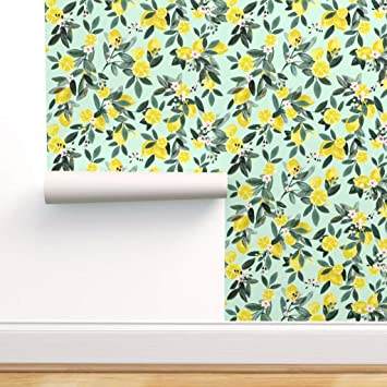 Spoonflower Peel And Stick Removable Wallpaper Lemons Lemon Tree Summer Home Kitchen Decor Citrus Flowers Yellow Fruit Print Self Adhesive Wallpaper 12in X 24in Test Swatch Amazon Com