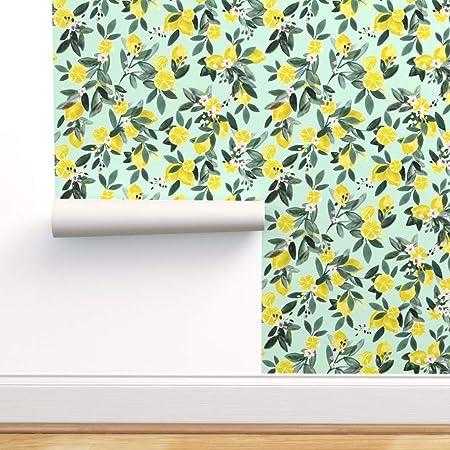 Spoonflower Peel And Stick Removable Wallpaper Lemons Lemon Tree