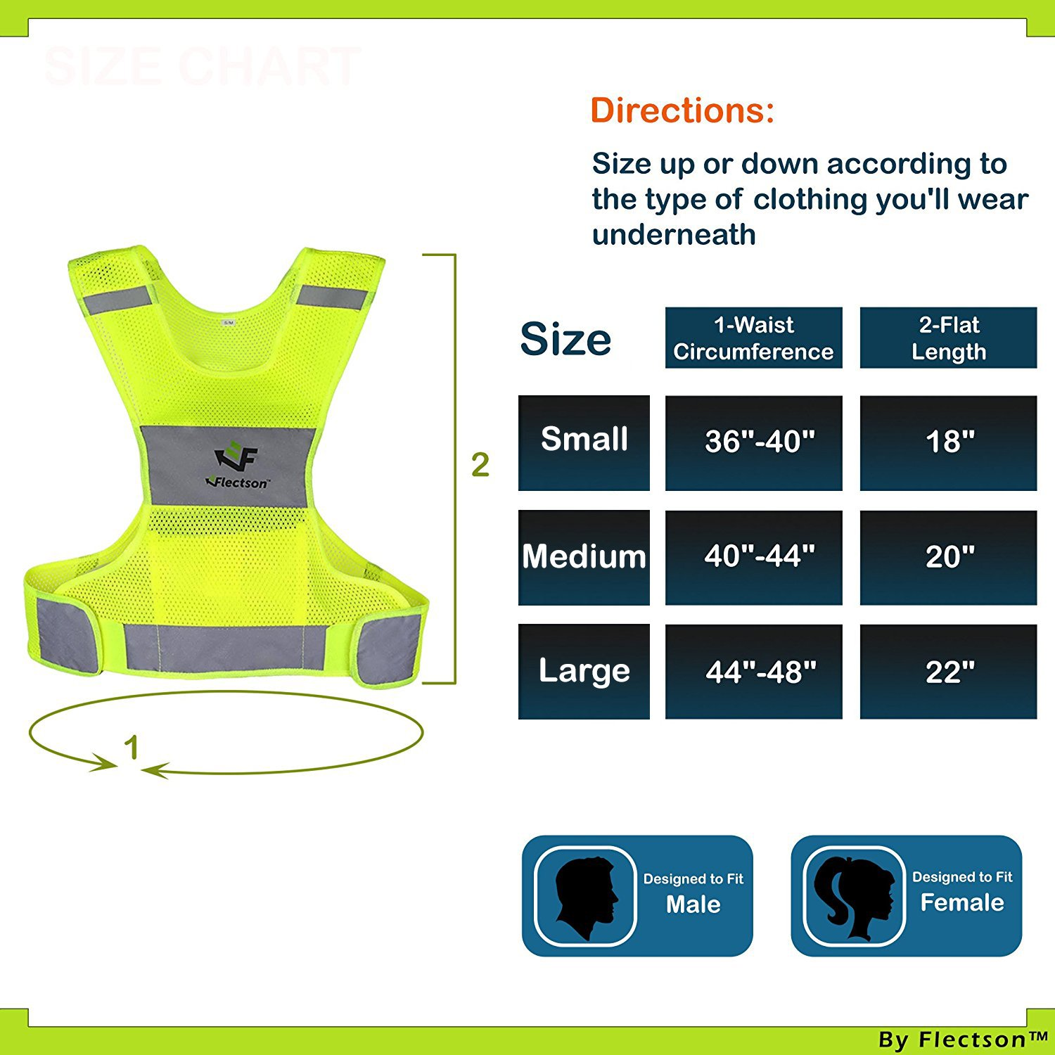 Flectson™ Reflective Vest for Running or Cycling (Women and Men, with Pocket, Gear for Jogging, Biking, Motorcycle, Walking)(Large) by Flectson (Image #2)