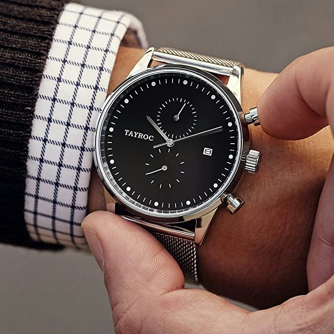 Reloj hombre RELOJ tayroc Boundless Silver Classic cronógrafo acero inoxidable cuarzo reloj de pulsera txm088: Amazon.es: Relojes