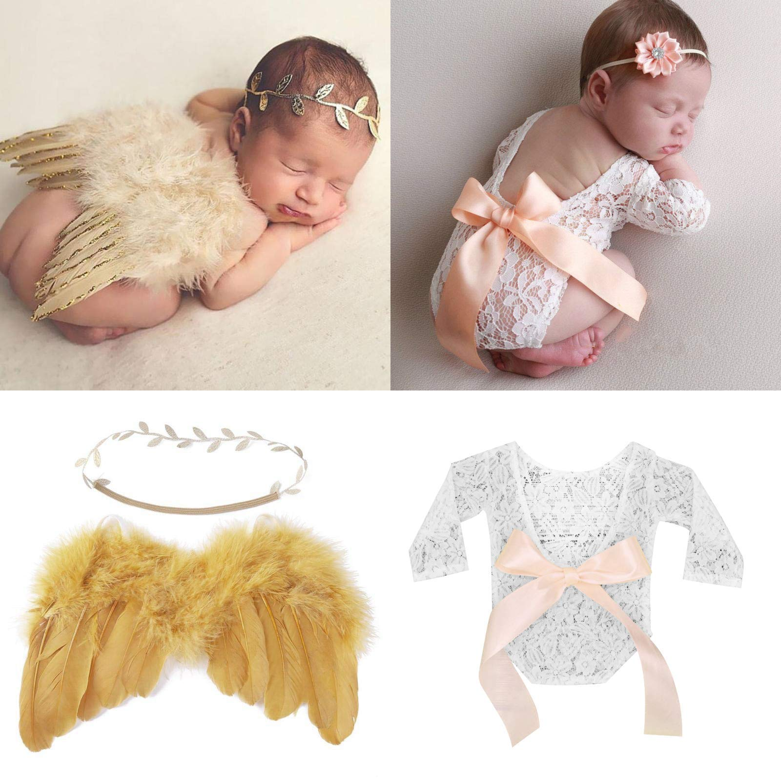 Newborn Photography Prop Outfits Girl Baby Photo 4 pcs Posing Prop Bundle Lace Vintage Romper with Ribbon Bow Angel Wings Matching Headband by IP