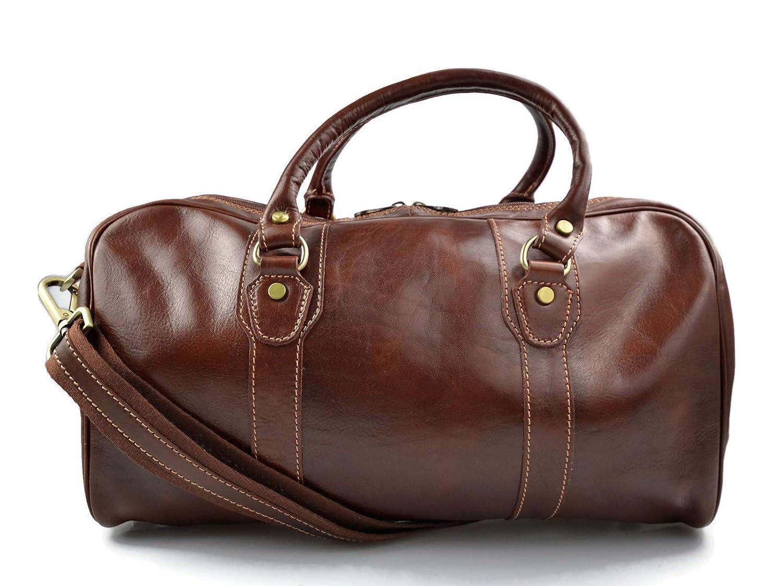 Bolso de viaje maleta marron bolso deportivo mujer hombre bolso de cuero con asas y correa de piel genuina bolso de mano de viaje bolso de espalda