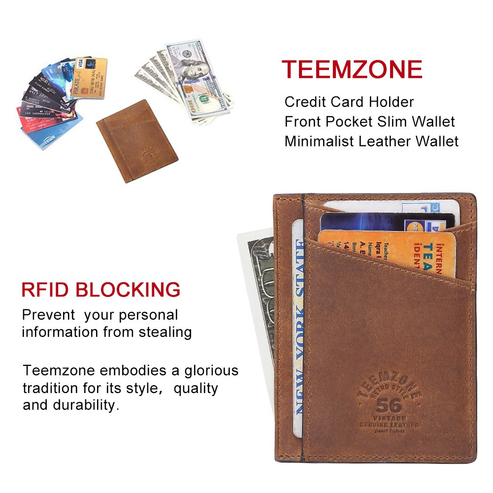 8d2c69a0cba Teemzone Minimalist RFID Mens Slim Wallet Genuine Leather Pocket Credit  Card Case Holder