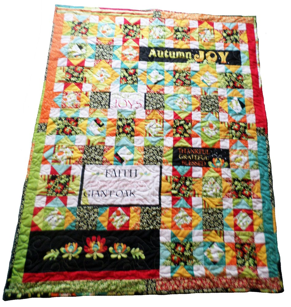 Throw Quilt ''Autumn Joy'' 59.5'' x 48.5'' Bright Fall Colors, Grateful, Blessed, Faith by Mountain High Crafts