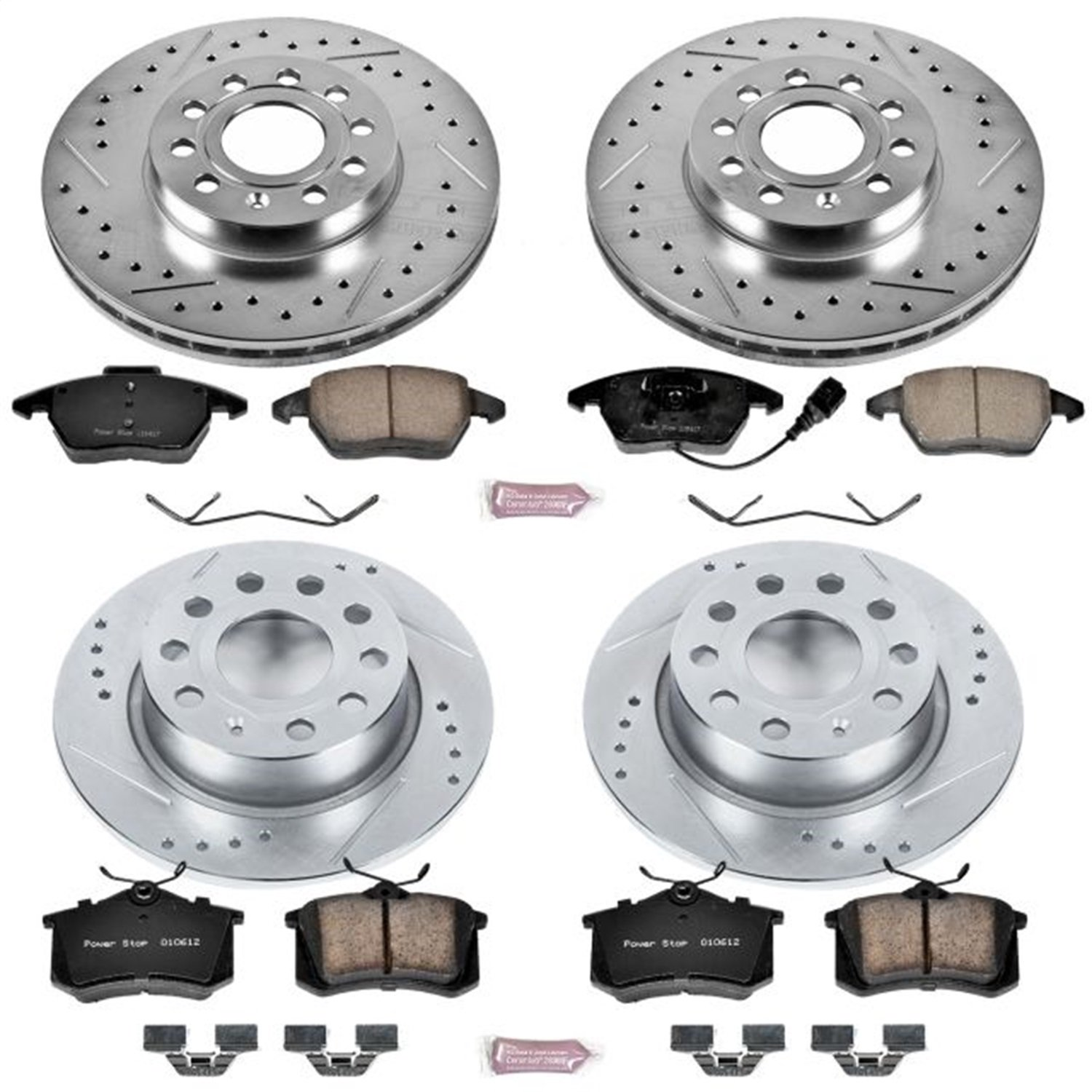 Power Stop K5749 Front and Rear Z23 Evolution Brake Kit with Drilled/Slotted Rotors and Ceramic Brake Pads