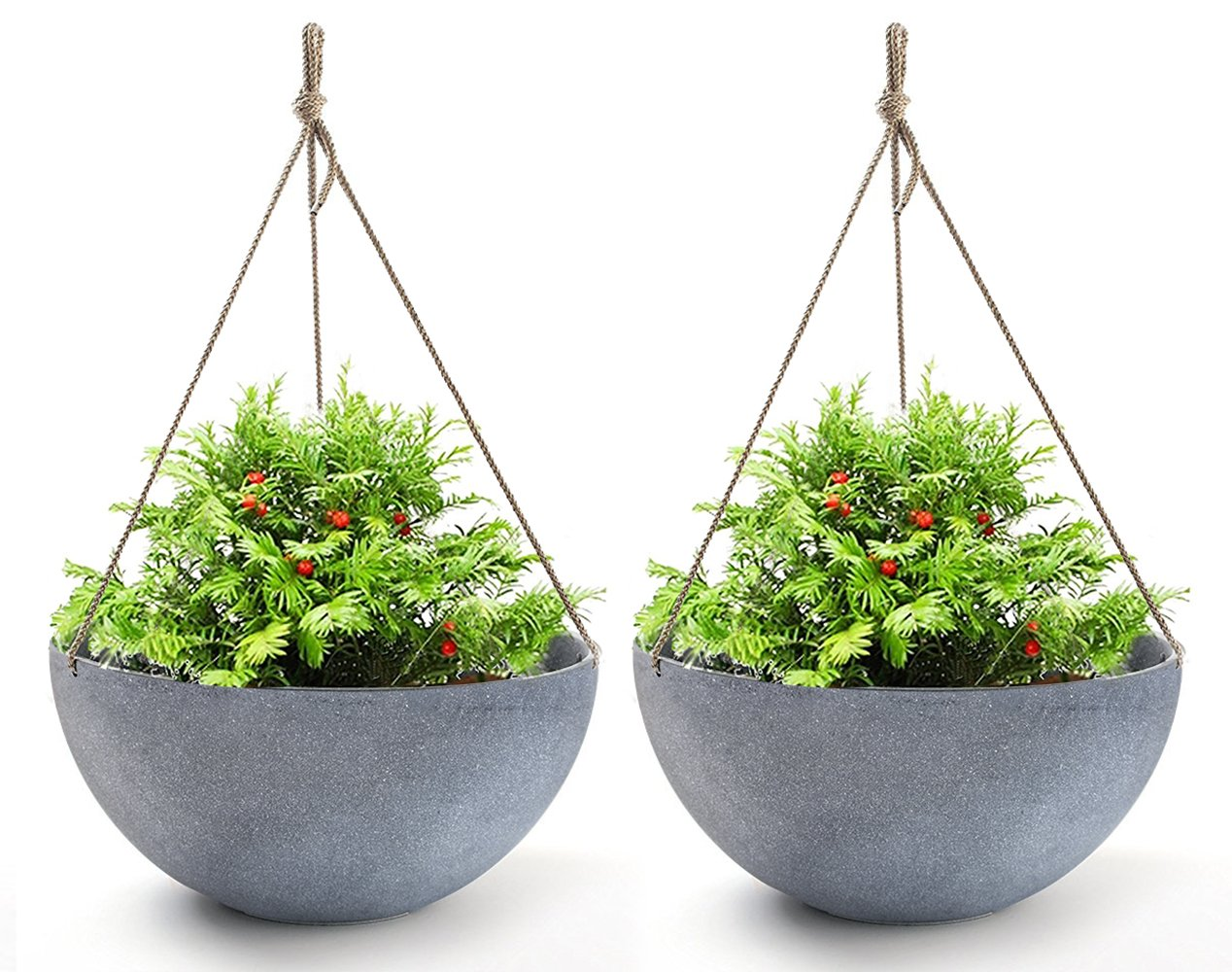 Hanging Planters Large 13.2 In Resin Flower Pots Outdoor, Garden Planters for Plants, Large Grey, Set of 2 by LA JOLIE MUSE