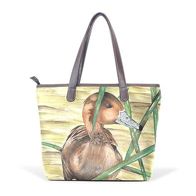 SCDS Duck PU Leather Lady Handbag Tote Bag Zipper Shoulder Bag