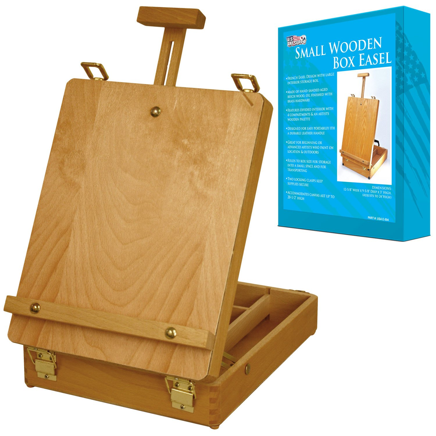U.S. Art Supply Newport Small Adjustable Wood Table Sketchbox Easel, Premium Beechwood - Portable Wooden Artist Desktop Storage Case - Store Art Paint, Markers, Sketch Pad - Student Drawing, Painting by US Art Supply